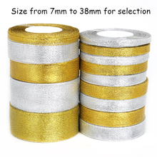 2017 Gold/Silver Organza Ribbon 7-38mm Glitter embroidered Onions Ribbons For Wedding cake Gift Decoration DIY Craft Supplies(China)