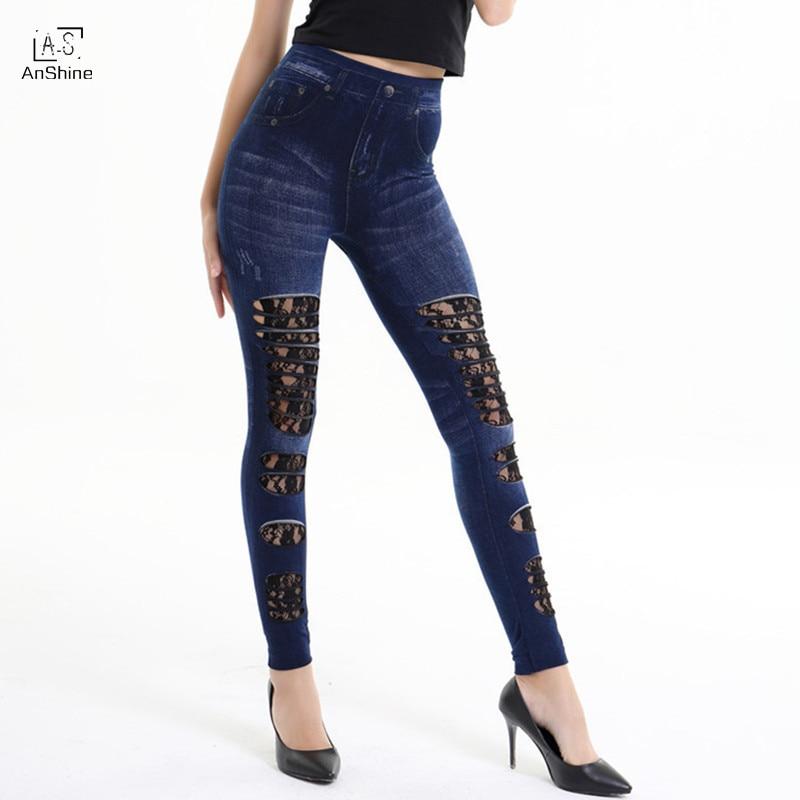 AnShine New Arrival Simulation hole JEANS Printed leggins for Women leggings women pantОдежда и ак�е��уары<br><br><br>Aliexpress