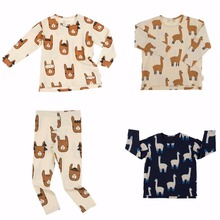 2017 New Tiny Cottons Cartoon Alpaca Kids Clothes Sets Children Clothes Boys Girls Clothing Baby Long Slleeve Tshirt + Pants(China)