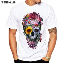 2017 Men T Shirts Fashion Voodoo Skull Design Short Sleeve Casual Tops Hipster Flower Skull Printed T-Shirt Cool Tee(China)