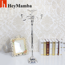 20pcs/lot Silver Plated Floor Wedding Candelabra Centerpieces 5-Arms Metal Candle Holder Stand For Wedding Events Props H/85cm