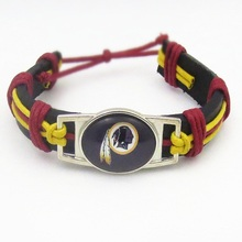 10PCS Sport Team Football Washington Redskins Real Leather Bracelet Jewelry For Women Men Adjustable Bracelet Jewelry(China)