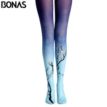 BONAS Plum Flower Pantyhose Tights New Arrival Print Stockings Leggins Women Winter Cotton Compression Pantyhose Gradient Tights(China)