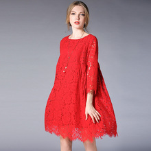 New 2018 Spring Fashion ladies Plus size elegant Lace Dress high end loose fit 3/4 sleeve beautiful dress vestidos tunicXL-XXXXL(China)