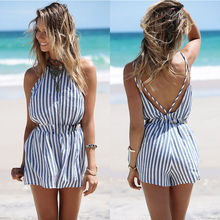 Summer Rompers Women Jumpsuit Sexy Ladies Cotton Jumpsuit Female Striped Romper Short Trousers Bodycon Blue Body Romper Playsuit