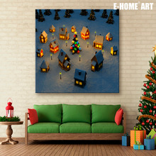 Art Print Stretched LED Canvas Print Small Village Christmas Series LED Flashing Optical Fiber Print One Pcs(China)