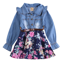 2017 pudcoco Cute Girls Long Sleeves Denim Shirt Floral Button Princess Casual Dress Autumn Outfits Dresses New Fashion(China)