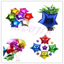 "2017 5pcs/lot 10"" Inch/ 25*25CM Foil Star Balloon mixed heart ballon - Helium Metallic globos for Wedding/birthday supplies  6Z"