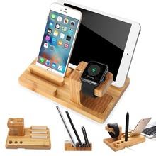 4 in 1 Stand Charging Stand Bracket Docking Station Holder for iPhone iPad Apple Watch, Bamboo Wood