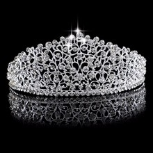 Gorgeous Vintage Big Silver Wedding Diamante Pageant Crowns Tiaras Crystal Bridal Crown Bride Hair Jewelry Accessories Headpiece(China)