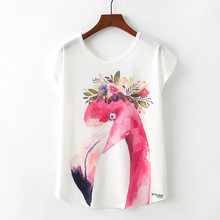 Buy 2018 Women Lovely T-Shirt Summer Flamingo Animals Graffiti Tops Loose Short Sleeve O Neck Thin T Shirts Casual Beach Streetwear for $5.80 in AliExpress store