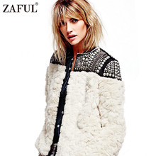 ZAFUL Trendy Women Faux Fur Jacket Patchwork Sequined Stud & Bead Embellishments Soft Shaggy Winter Outerwear Nordic Nights Coat