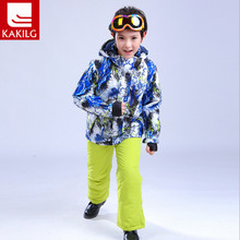 Dropshipping New Kids Winter Ski and snowboarding Windproof Warm Ski Suits Children Set Snow Jacket + Pants For Boys 110-160cm(China)