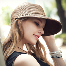 2017 New Summer Visors Cap Wide Large Brim Sun Hat Beach Hats for Women Straw Hat Sombrero Visor Chapeu Feminino