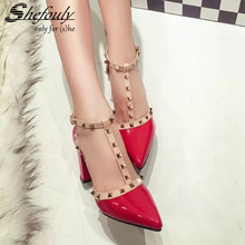 2017 New Summer T-Strap Punk Style High Spike Heels Pointed Toe Women's Shoes, .Patent Leather Buckle Strap Rivet Party Pump