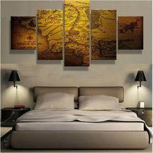 5 Panel Canvas Printed Map Of Middle Earth Final Painting For Living Room Picture Wall Art Decor Modern Artworks Map Poster
