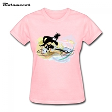 New Summer Style Fashion T Shirt Short Sleeve Cotton T-shirt Women T-shirt Tees Printed Girl Figure Skating Image WTY025(China)