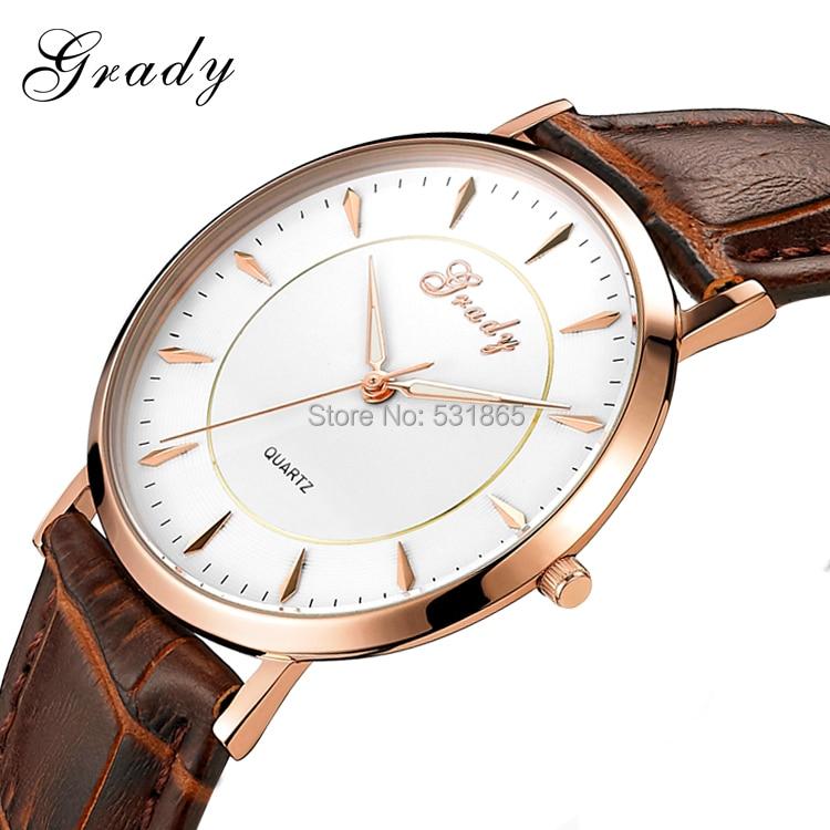 Grady Free Shipping luxury male watch fashion brown genuine leather clock men watch<br>