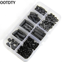 OOTDTY 160Pcs M3 Nylon Black M-F Hex Spacers Screw Nut Assortment Kit Stand off Set Box -B119