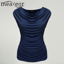 Meaneor Women Cowl Neck T-shirts tops women Sleeveless t-shirt tops Ruched Slim Tshirts Navy Blue Solid tops summer 2017 S-XL