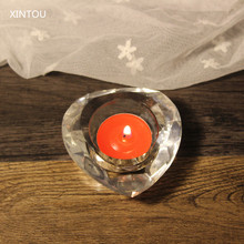 XINTOU Crystal Heart Shaped Candle Holders Clear Rare Glass Bowl Wedding centerpieces Candlestick Home Decor Candles Holder