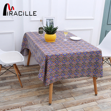 Miracille Colorful Geometric Printed Bohemian Style Dustproof Cotton Linen Tablecloth Fit Picnic Party Home Decor Table Cover