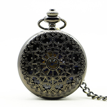 10pcs/lot 1139 Wholesale Buyer Price Good Quality Vintage Mens Retro Fashion Black Flower Mechanical Pocket Watch(China)