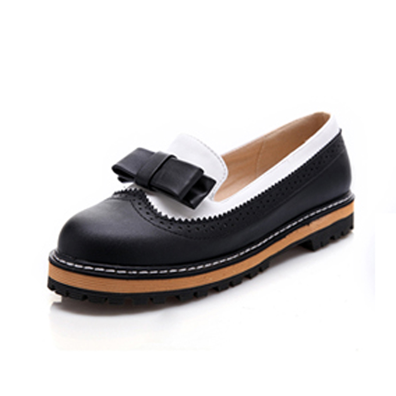 Hot Sale Slip-on Bow Partchwork Oxford Shoes For Women Fashion Round Toe Brogue Women Oxofords Ladies Casual Flat Oxford Shoes<br><br>Aliexpress