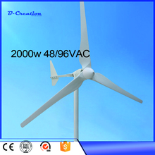 2017 Top Fashion Hot Sale ! 2000w 48v/96v Home Use Windmill / Wind Generator, 3 Blades, 3 Years Warranty For Farm