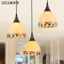 personality Mediterranean restaurant lighting Jane European pastoral shell lamp table dining room restaurant three Chandelier