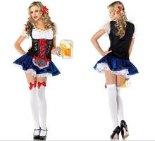 2016 Sexy Lace Oktoberfest Beer Costume Erotic French Maid Costume Deguisement Adultes Sexy Halloween Costumes For Women CE239
