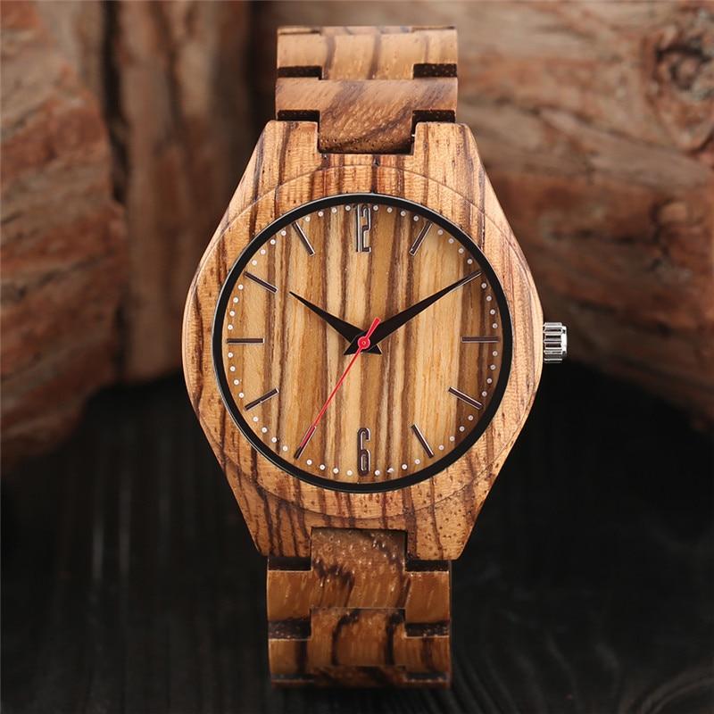 Unique Zebra Maple Wood Watch Quartz Analog Mens Wooden Watches Top Luxury Wristwatch Casual Clock Reloj Hombre Relogio Madeira<br>