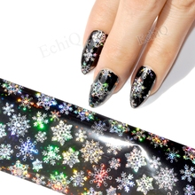 100cm*4cm Bling Christmas Snowflake Nail Foils Transfer Sticker Paper Holographic Laser Snake Skin Nail Design Decals Tool