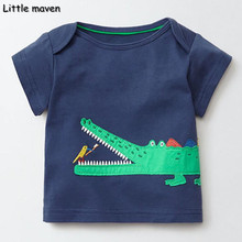 Little maven children brand 2017 summer baby boys clothes Cotton funny crocodile bird O-neck t shirt kids fashion tops 50869