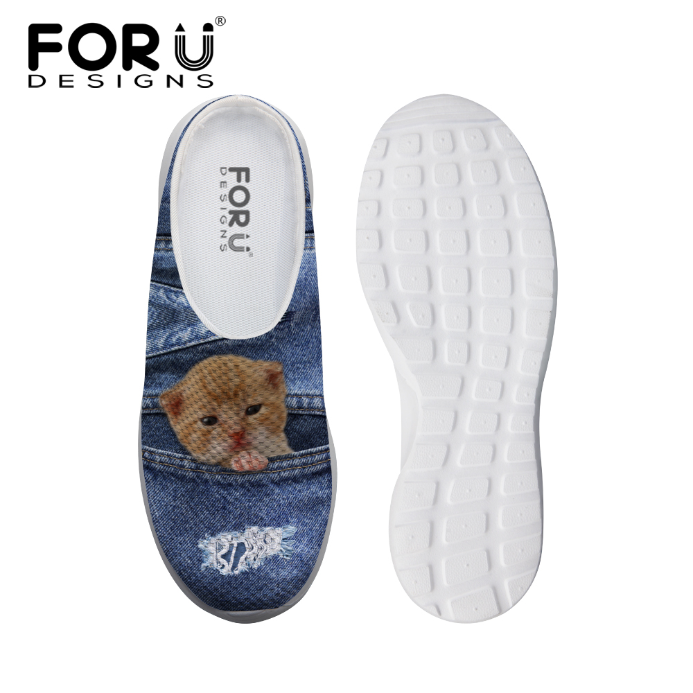 FORUDESIGNS Denim Pocket Animal Women Casual Sandals Summer Fashion 3D Cute Cat Dog Prints Beach Slippers for Ladies Flats Shoe <br>