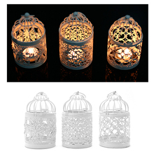 1PC 3 Types Metal White Holder Tealight Candlestick Hollow Hanging Lantern Bird Cage Vintage Wrought Candle Holders New XQ(China)