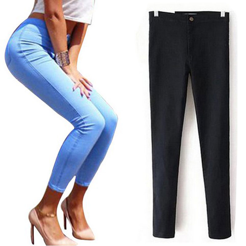 Black Stretch Jeans Woman Slim Jeans For Women 2016 Skinny Jeans With High Waist Womens Jeans Femme Denim Pencil Pants TrousersОдежда и ак�е��уары<br><br><br>Aliexpress