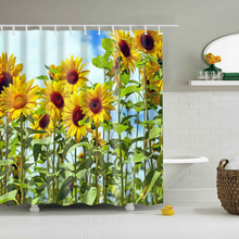 Sunflower Bathroom Curtain High Quality Plant Environmental Shower Waterproof With Plastic Hook TZ170934