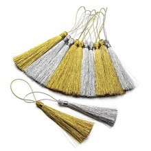 30pcs/lot 40 60 80 mm Long Rayon Thread Silk Tassels Gold Color Earrings Charms Tassels for DIY Jewelry Making Borlas Piel F3051(China)