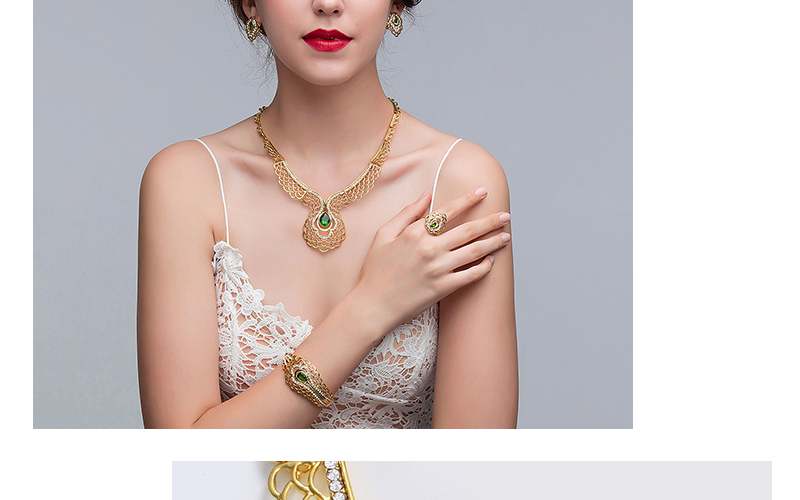 AYAYOO Bridal Jewelry Sets Crystal African Beads Jewelry Set in Gold Color Fashion Jewellery Women Wedding Necklace Set (4)