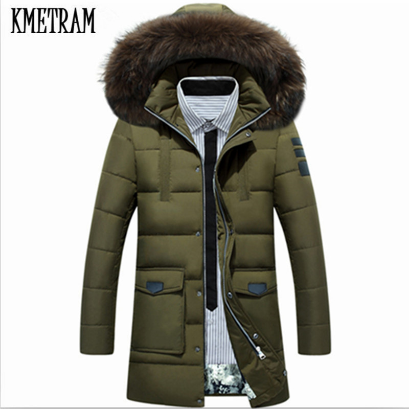 KMETRAM 2019 New Style Winter Down Jacket Men Warm Fashion Long Male White Duck Down Jacket Men chaqueta de pluma de pato HH335