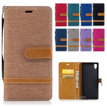 Denim Jeans Stand Case For Sony Xperia XZS XZ Colorful Magnetic Wallet Case For Sony Xperia XA1 design telephone bag Accessories