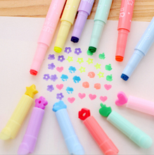 6 PCS/lot Hot Sale Stationery Store Plastic Highlighter Pens School Office Supplies Cute Shape Smooth Pen Candy Color