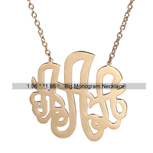 AOLOSHOW women Stainless steel Monogram Necklace Gold color 3 letters initial nameplate Necklace 5cm (1.96 inch) , nl-2490-2
