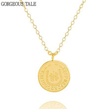 GORGEOUS TAL Gold Coin Gargantilha Bijoux Femme Stainless Steel Round Four Leaf Clover Necklace Silver Color Bohemian Necklaces