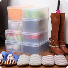 Crystal Transparent Shoe Organizer Thickening Plastic Shoe Storage Box Multifunctional Shoes Sundries Finishing Box(China)