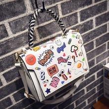2 Color Available Women's Handbag High Quality PU Leather Women Shoulder Bags 2016 New Nice Cartoon Printing Women Handags