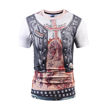 novelty Guide Designer T-shirt Men/Women Fake Two Pieces T shirt 3d Tops Fake Leather Vest Print Tee shirt street wear(China)
