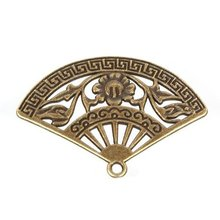 60X  New Design Antique bronze Zinc Alloy Charm Pendant  Fashion Fan Shape Jewelry Finding Fit Jewerly 36*25*2mm 142317