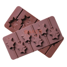 Silicone mold 6 lattices double Pentagram lollipop mold DIY chocolate mold comes with plastic rod CDSM-068(China)